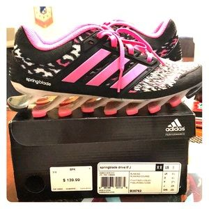 Adidas Woman's size 5 running shoes blk white pink